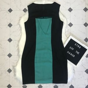 Andrew Marc black & green midi dress size 10
